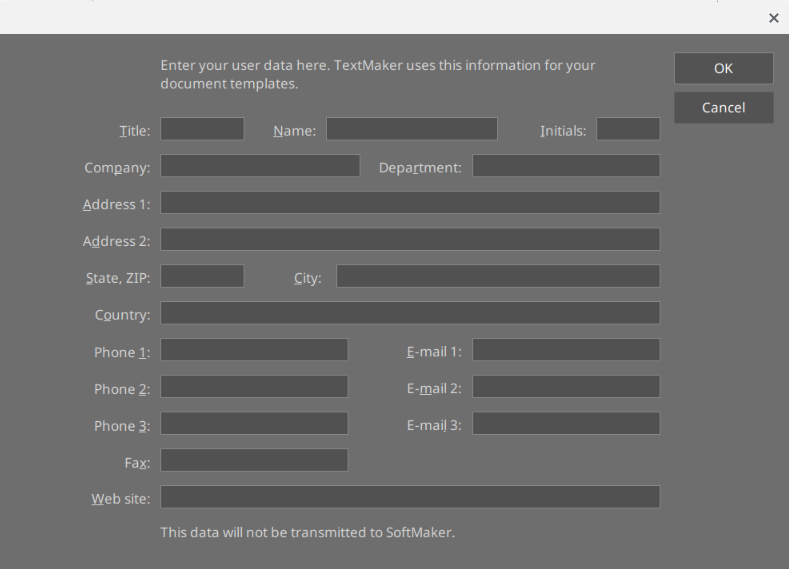 SoftMaker Office started: personal data