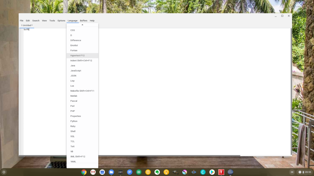 SciTE in the Linux of Chrome OS