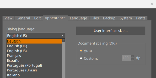 SoftMaker Office started: changing UI language 2