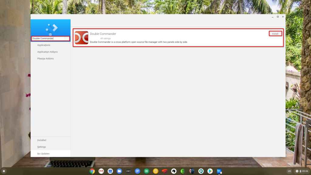 Searching and isntalling the Double Commander with KDE Discover