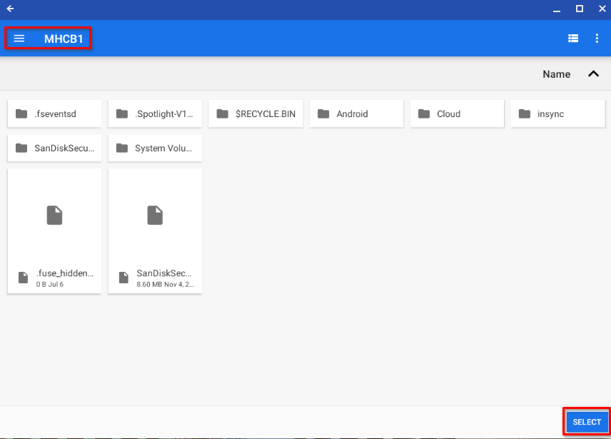 Selecting the root directory of an external SSD for write access by Autosync for Google Drive on Chrome OS