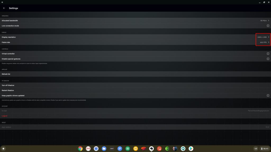 The settings of Shadow on Chrome OS