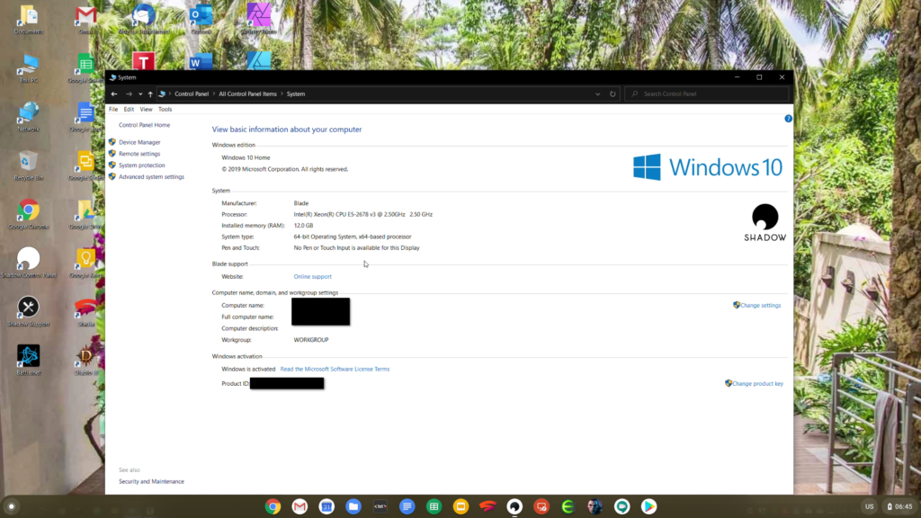 Windows 10 unter Chrome OS bei Shadow in der Cloud