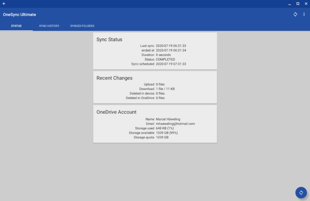 The synchronization status of AutoSync for OneDrive on Chrome OS