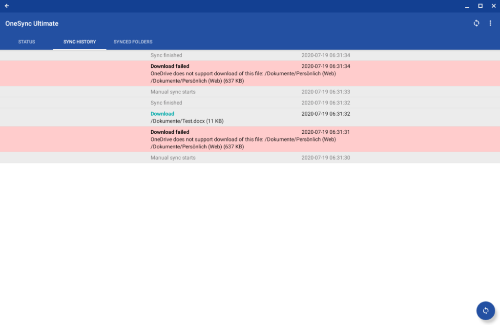 The synchronization history of AutoSync for OneDrive on Chrome OS