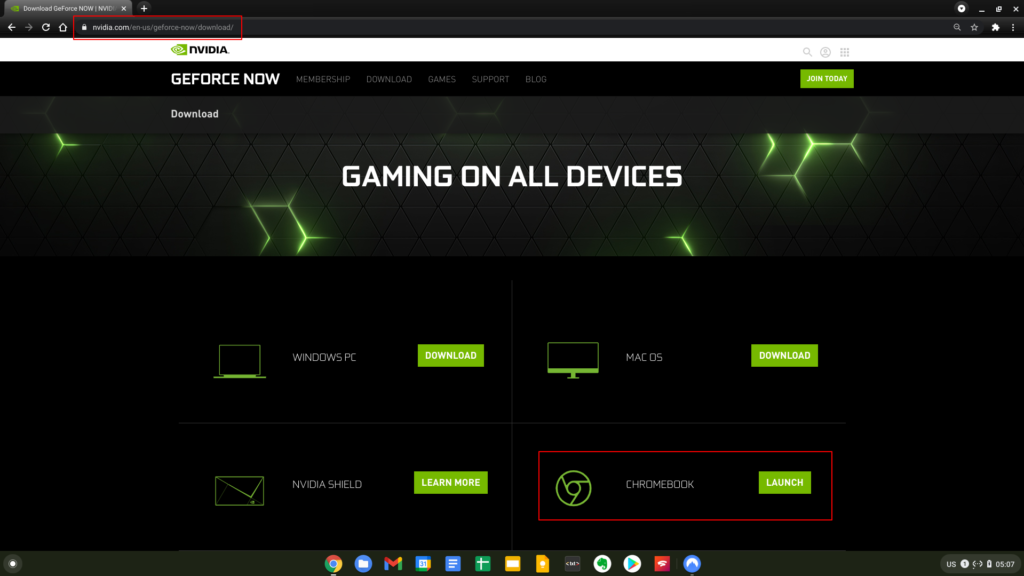 Download Geforce NOW for Chrome OS