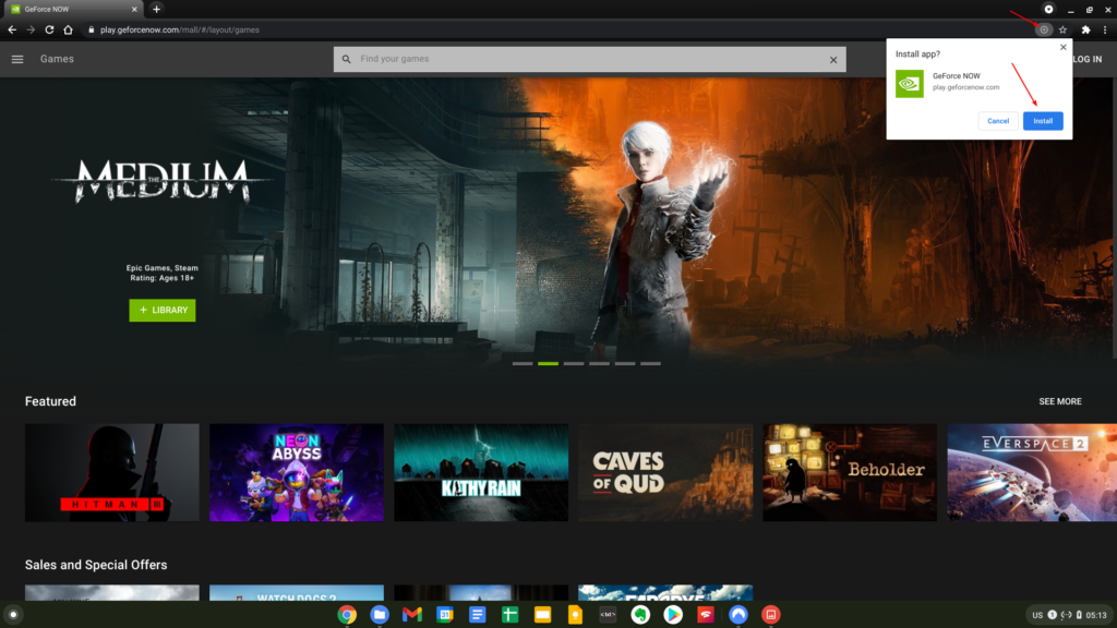 Installing the Geforce NOW app on Chrome OS