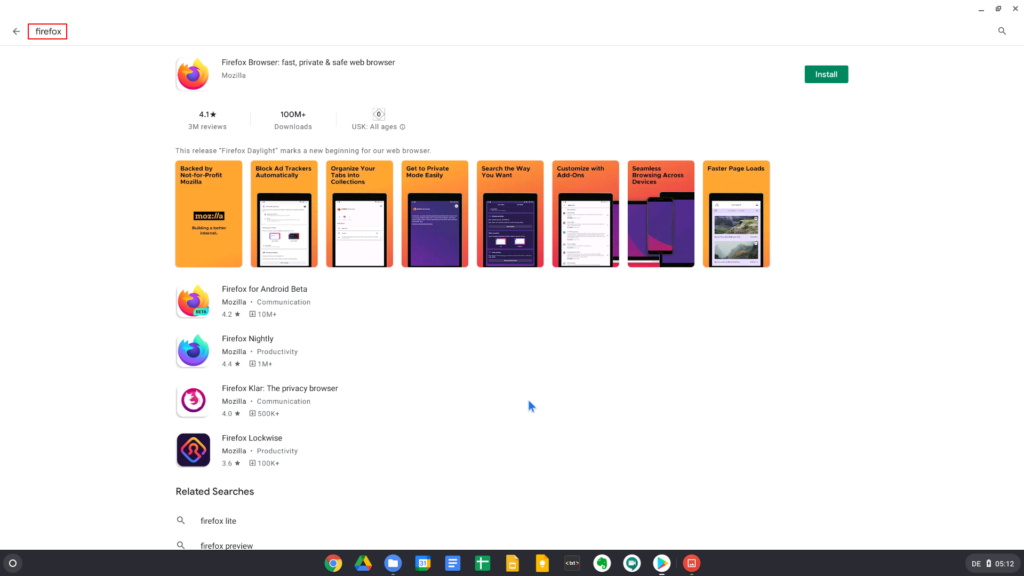 Installing Firefox from the Play Store on Chrome OS
