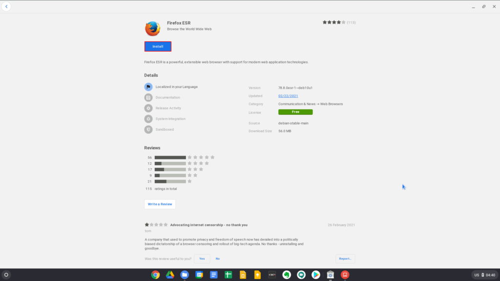 Installing Firefox ESR from the Gnome Software Center on Chrome OS
