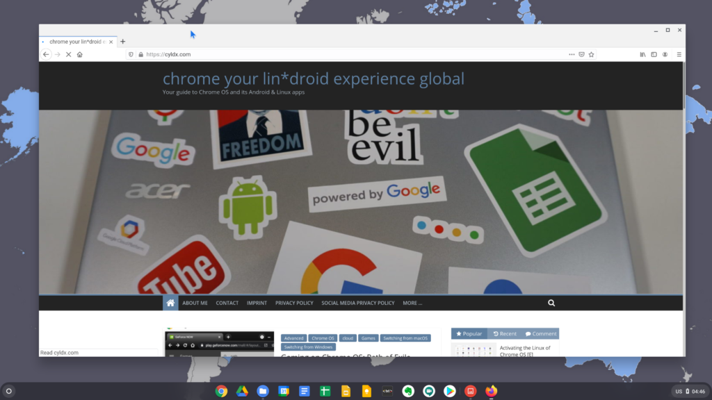 The Firefox ESR in the Linux mode of Chrome OS