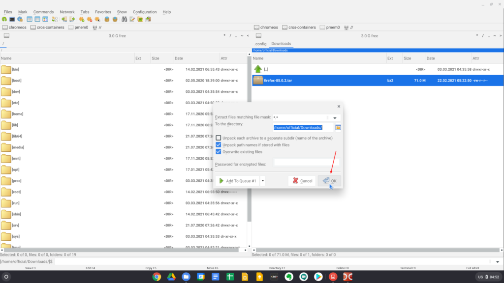 Unzipping the downloaded Firefox archive in the Linux mode of Chrome OS 2